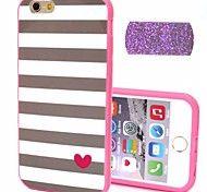 2-in-1 Bling Bling Golden Heart Pattern PC Back Cover with PC Bumper Shockproof Hard Case for Apple iPhone 6 Plus