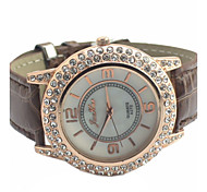 Women's Round Alloy Diamond  Dial PU Band Quartz Fashional Dress Wrist Luxury  Watch