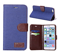 Denim Texture Horizontal Flip Leather Case with Card Slots & Holder