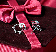 S925 Silver Zodiac Sheep Lucky Sheep Pure Tremella Nail Exquisite Female Diamond Sterling Silver Earrings