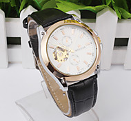Leather Men's Wrist Watch Mechanical Hand Winding Movement Skeleton Hollow Out