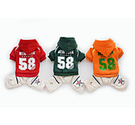 Dog Hoodie / Clothes/Clothing Red / Green / Orange Winter Letter & Number / Stars