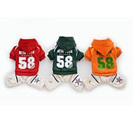 Dog Hoodie Red / Green / Orange Winter Letter & Number / Stars