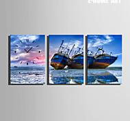 barcos en el reloj de la playa en la lona 3pcs