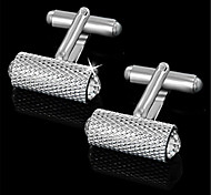 Men's Hammer Cylinder RhinesTone Silver Wedding Suit Shirt Cufflinks