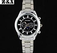 reloj de pulsera correa de acero análogo de cuarzo de los hombres de moda a prueba de agua