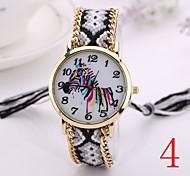 2015  Women Watches Gold Wristwatch Ladies Quartz Watches Geneva Handmade Weave Braided   Zebra  Bracelet XR1237