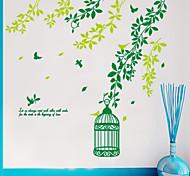 стены стикеры стены стикеры наклейки стиль зеленая птица клетка ПВХ стены