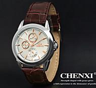 Kleid chenxi® Herrenuhren klassisches Design braunes Lederarmband