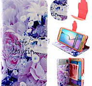 Purple Flower Pattern with Card Bag Full Body Case for Samsung Galaxy S6/ S6 Edge