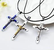 European Style Cross Shape Alloy Wholesales Necklace(Gold,Black,Blue)(1Pc)