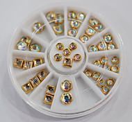 45pcs/set 3D Nail Art Decorations Fashion Jewelry Shinning Round Square Rhinestones with Golden Metal in the Wheel