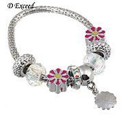 D Exceed  Pink Flower Glass Charm Braceelet for Women European Style Alloy Silver Plated Bracelets
