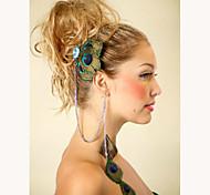 Fashion Bohemia Handmade Feather Tassel Earrings Rhinestone Hairpin