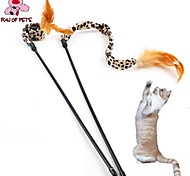 Cat Toy Pet Toys Teaser Feather Toy Leopard Brown Textile