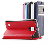 5.7 Inch Window Pattern Hand Strap Luxury Leather Case for Samsung Note 4(Assorted Colors)