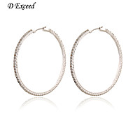 D Exceed Women's ltaly Style Silver Plated Hoop Earring with Rhinestone