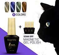 4pcs azuis / lot gel magnético polonês cat eyes unha magnético gel unha laca polonês mergulhar off gel uv (# 87 + 88 + # # # 89 + 90)