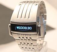 Männer neue Mode-Eisenmann-Stil blaue LED-Digital-Stahl-Uhr