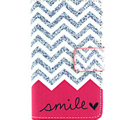 Wave Smile Pattern PU Leather Painted Phone Case For Nokia N435