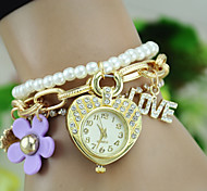 Bohemian Style Women'S Fashion Watches Pearl Flower Heart-Shaped Students Watch