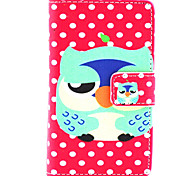 Cartoon Owl Pattern PU Leather Painted Phone Case For Nokia N435