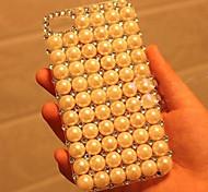 patrón de diamante perla caso duro volver volver transparente para iPhone6