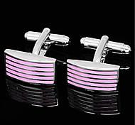 Men's Parallel Stripes Rectangle Pink Silver Wedding Shirt Cufflinks