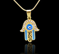 18K Real Golden Plated Hamsa Hand Of Fatima Evil Eye Crystal Hollow Out Pendant