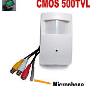 500TVL COLOR CMOS Mini Hidden Camera PIR CCTV Security Camera with 3.7mm Pinhole Lens Audio External Microphone