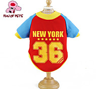 Cat / Dog Coat / Shirt / T-Shirt / Jersey Red / Yellow / Blue / Pink Dog Clothes Spring/Fall Letter & Number / Stars Wedding / Cosplay