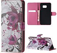 paarse bloem patroon pu lederen koffer met standaard voor Samsung Galaxy Note 5 / note 5 edge / note 4 / note 3 / noot 2