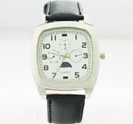 caja de la aleación analógica de los hombres del dial del cuadrado hombres reloj de cuarzo correa del reloj del regalo del reloj del