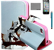 COCO FUN® Fallen Childhood Pattern PU Leather Case with Screen Protector and USB Cable and Stylus for iPhone 4/4S