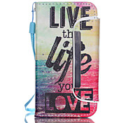 Live The Life You Love Pattern PU Leather Free movement Wallet with Card Slot and Screen Protector for iPhone 4/4S