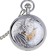 Men's Wings Carvings & Glow-in-the-Dark Design Zinc Alloy Analog Mechanical Pocket Watch