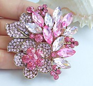 2.36 Inch Gold-tone Pink Rhinestone Crystal Flower Brooch Pendant Art Decorations