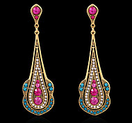 Fashion Jewelry Woman Lady Crystal Colored Crystal Gold Drop Earrings