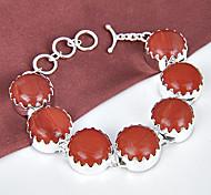 mejor precio de fuego de fuego ronda naturales rojos gema jaspe 0.925 pulseras de plata de la cadena de enlace de brazaletes para la