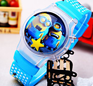 Kids' New Cartoon Flip Round Dial Small Yellow People Pattern Silicone Strap Light Digital Watch (Random Color)