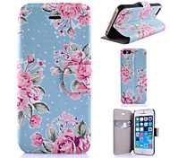 Blue And Pink Flowers  Pattern PU Leather Phone Case For iPhone 5C