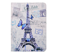 púrpura torre Eiffel mariposa pu funda de cuero alrededor de enfrentamiento abierto con pestaña para s2 8,0 / galaxy s2 galaxy tab 9.7