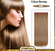 5 Clips Long Straight Strawberry Blonde (#27) Synthetic Hair Clip In Hair Extensions For Ladies