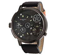 Men's Military Design Dual Time Zones Fabric Band Quartz Wrist Watch