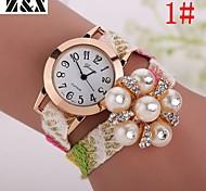relógio de forma simplicidade de quartzo cristal de rocha pérola de pulso analógico das mulheres (cores sortidas)
