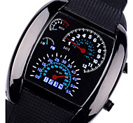 Mens Sports Car Rpm Blue&White Led Speed Wrist Watch