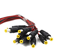 New 10pack 10 inch(30cm) 2.1 x 5.5mm DC Power Pigtail MALE,Black&Red