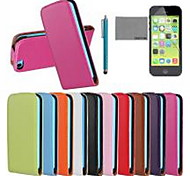 COCO FUN® Ultra Solid Genuine Flip Leather Case with Film and USB Cable and Stylus for iPhone 5C(Assorted Colors)