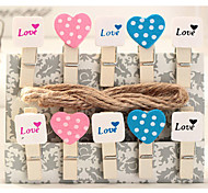 10pcs Wooden Photo Paper Message Note Heart Clips Pegs Party Favor Supply (Random Color)