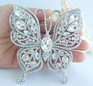 3.74 Inch Silver-tone Clear Rhinestone Crystal Butterfly Brooch Pendant Art Decorations